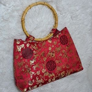 Vintage Sateen Good Luck Symbol Floral Pattern Bag